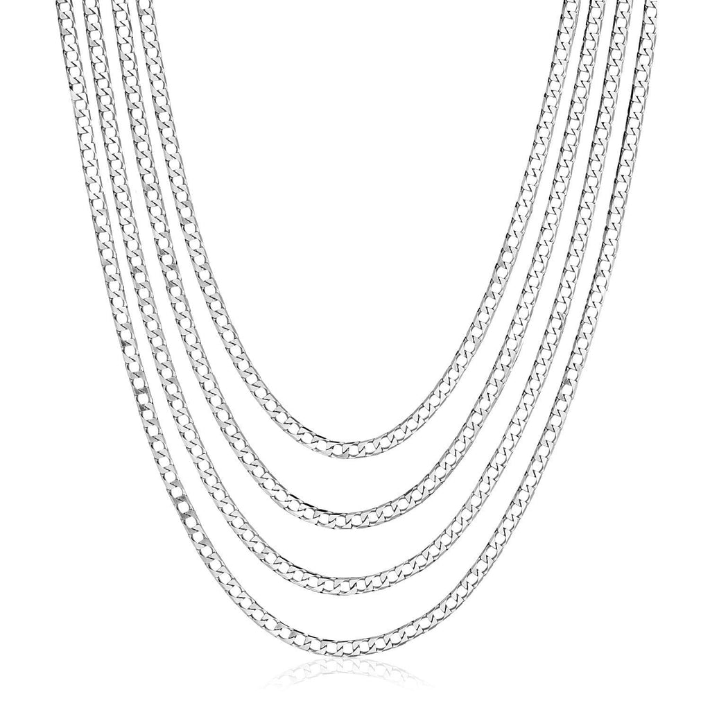 Sterling Silver 18 inch Four Strand Polished Link Necklace
