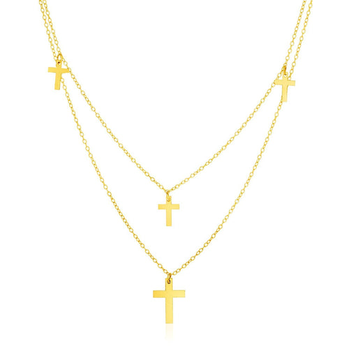 14k Yellow Gold 18 inch Two Strand Necklace with Crosses