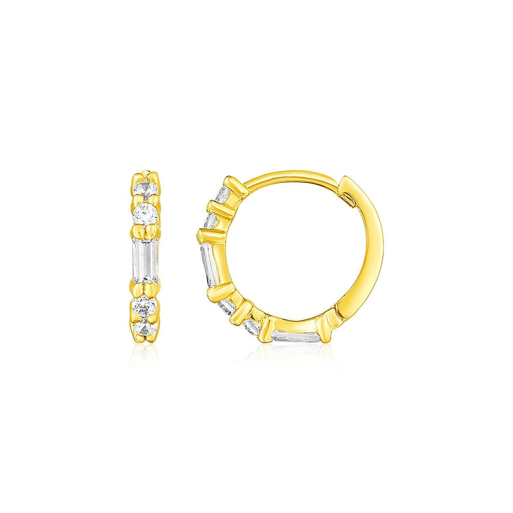 14k Yellow Gold Petite Hoop Earrings with Baguette Cubic Zirconias