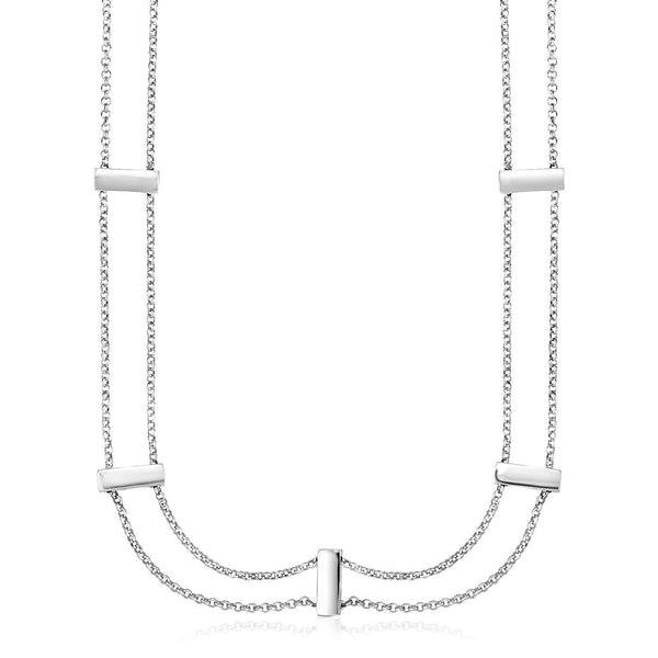 Sterling Silver 16 inch Two Strand Necklace with Polished Bars