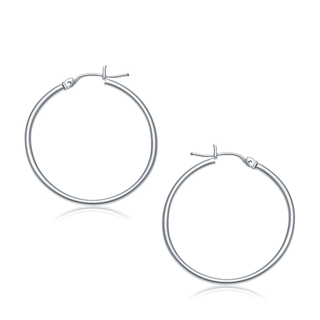 10k White Gold Polished Hoop Earrings (30 mm)