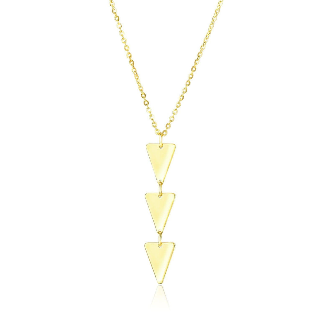 14k Yellow Gold Pendant with 3-Layer Triangle Design
