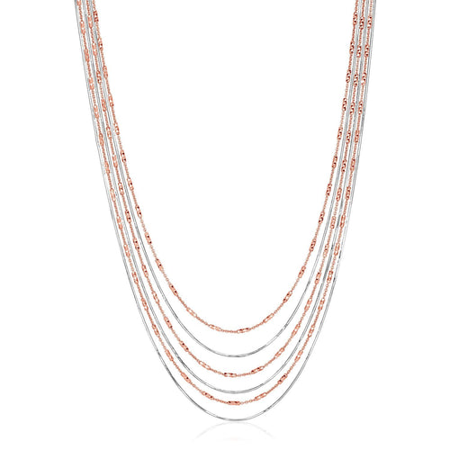 Sterling Silver 18 inch Two Toned Six Strand Chain Necklace