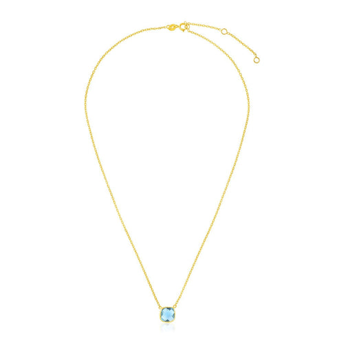 14k Yellow Gold 17 inch Necklace with Cushion Blue Topaz