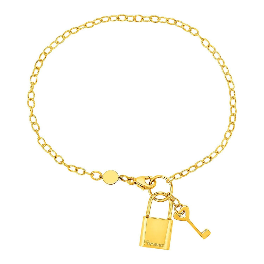 Bracelet with Lock and Key in 14K Yellow Gold