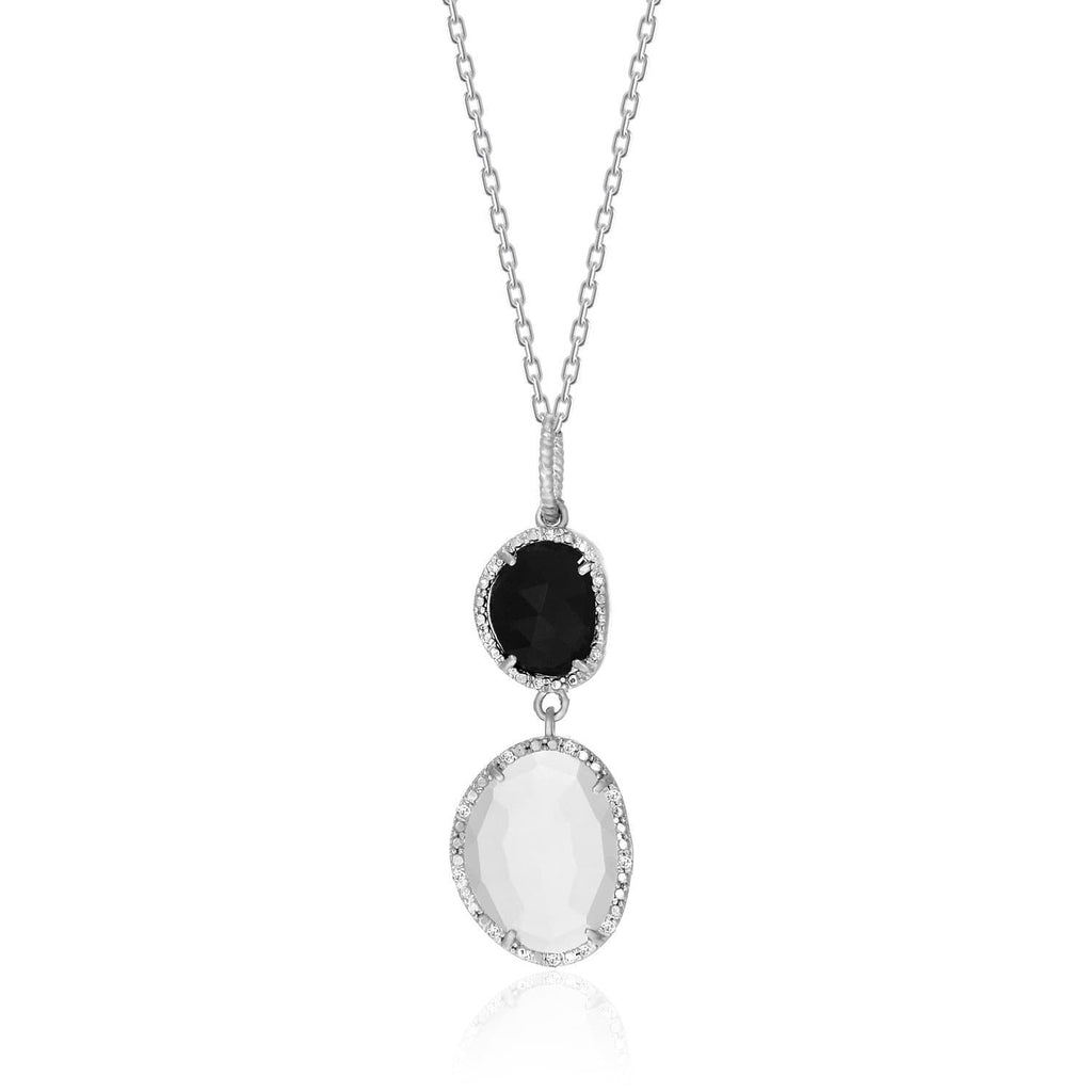 Sterling Silver Diamond Bordered Moonstone and Black Onyx Pendant