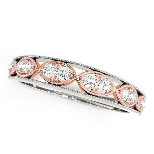14K White And Rose Gold Infinity Style Diamond Band (1/5 ct. tw.)