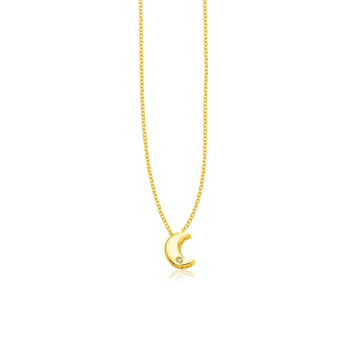 14k Yellow Gold Polished Moon Necklace with Diamond