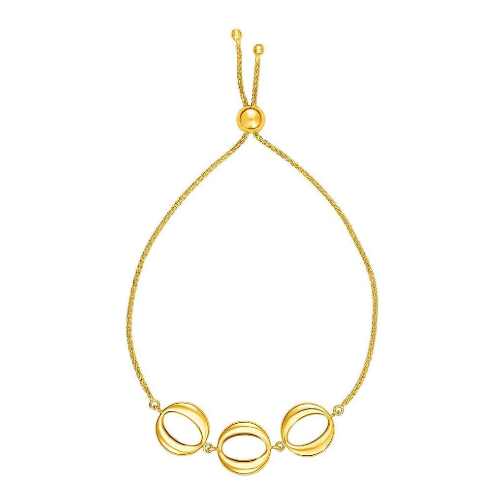 Adjustable Bracelet with Shiny Open Circles in 14K Yellow Gold