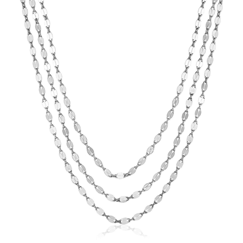 Sterling Silver 16 inch Three Strand Necklace with Polished Ovals