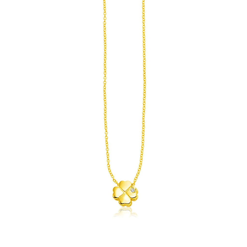 14k Yellow Gold Polished Four Leaf Clover Necklace with Diamond
