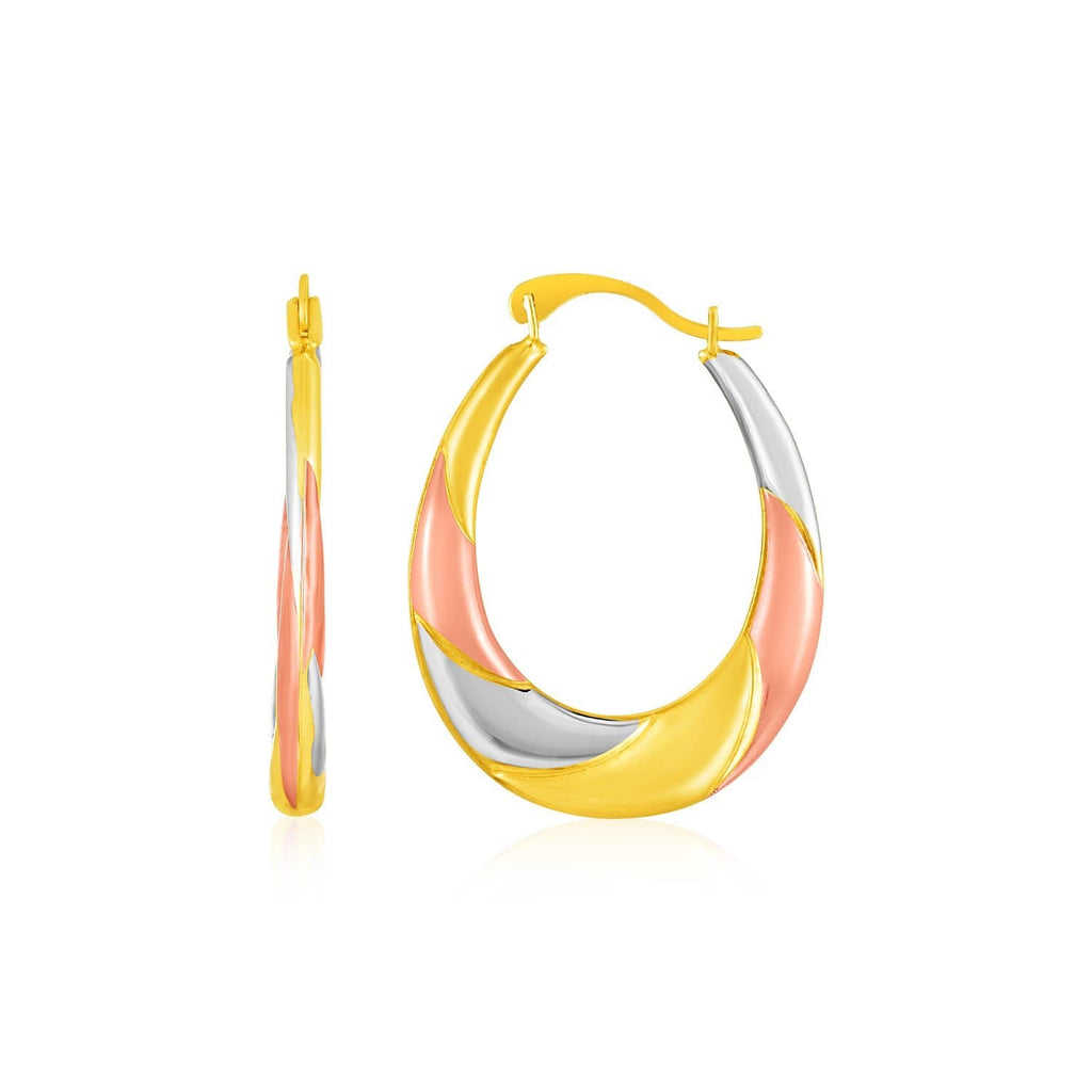 14k Tri Toned Gold Twisted Hoop Earrings