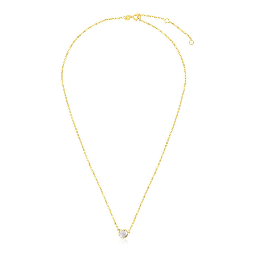 14k Yellow Gold 17 inch Necklace with Round White Topaz
