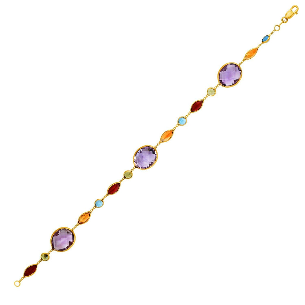 14k Yellow Gold Bracelet with Multi-Colored Stones