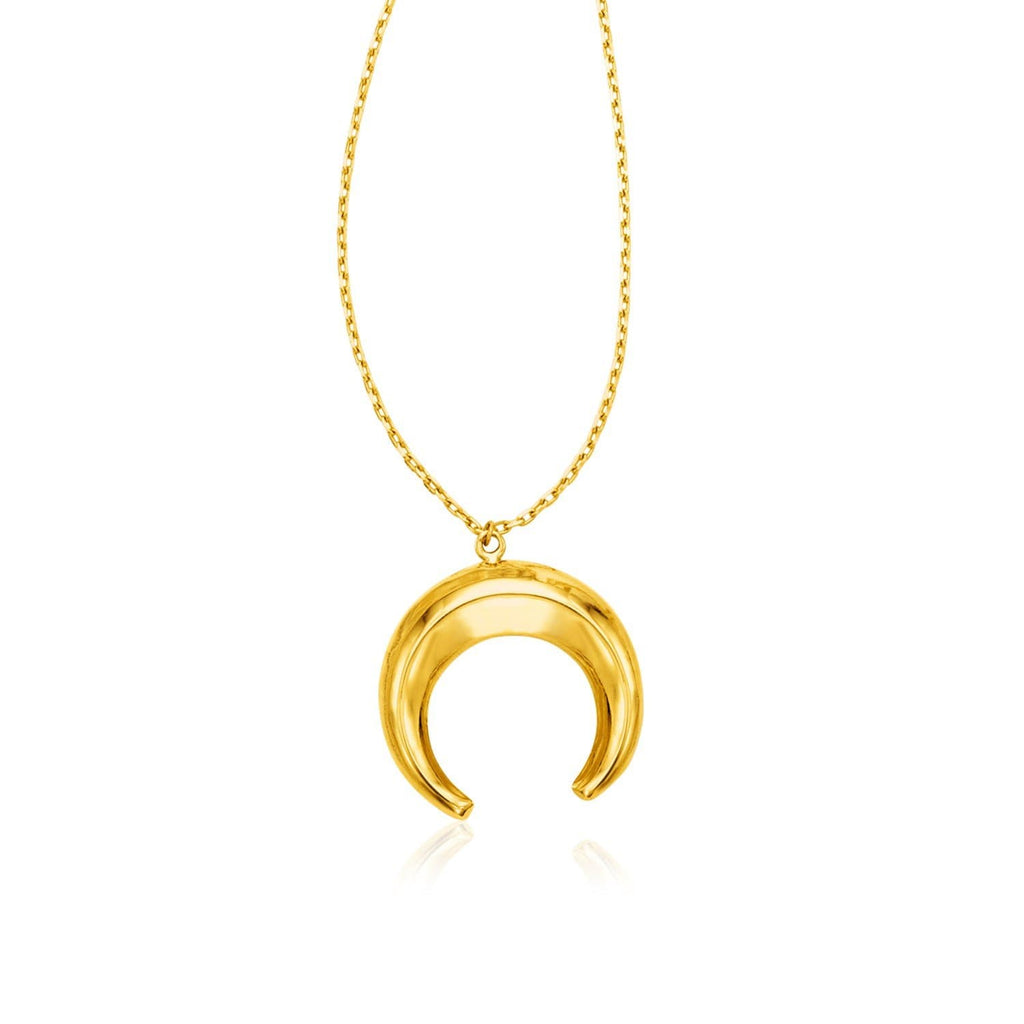 14k Yellow Gold 17 inch Necklace with Domed Moon Motif Pendant
