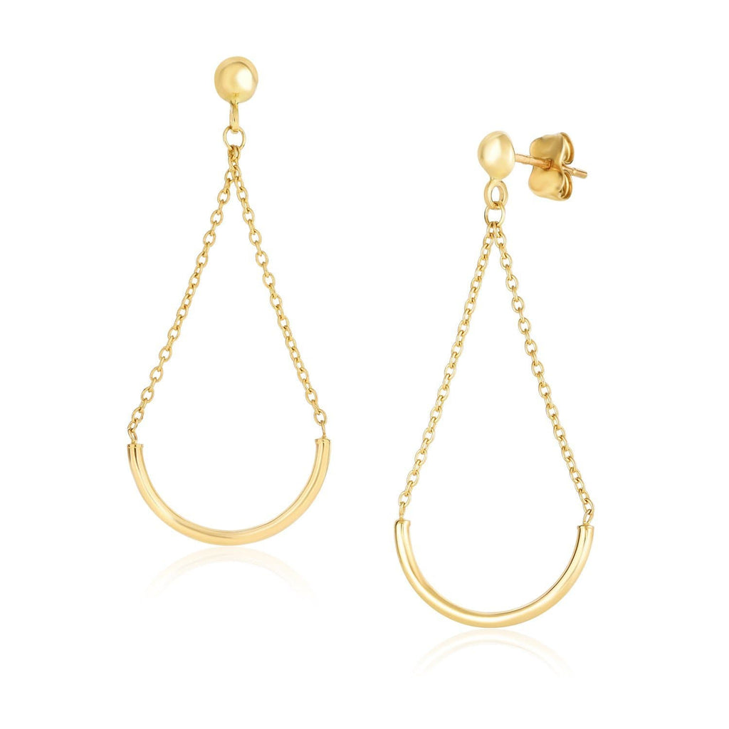 14k Yellow Gold Curved Chain Drop Earrings