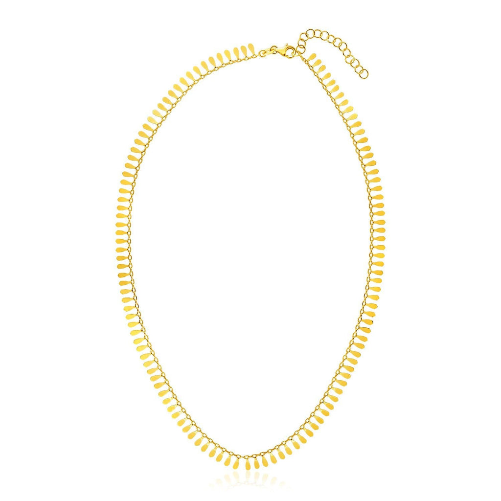 14k Yellow Gold 18 inch Necklace with Polished Petal Motifs