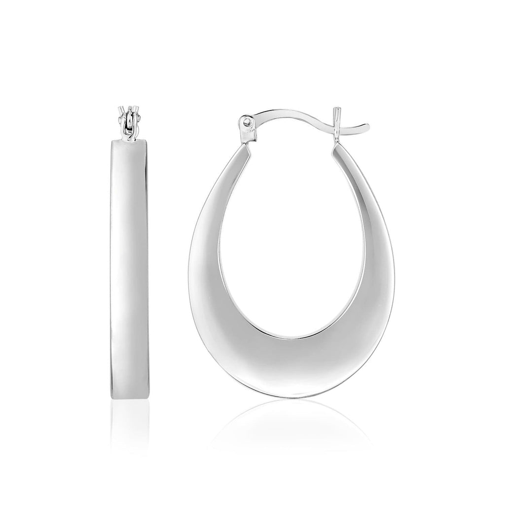 Sterling Silver Puffed Rectangular Profile Oval Hoop Earrings