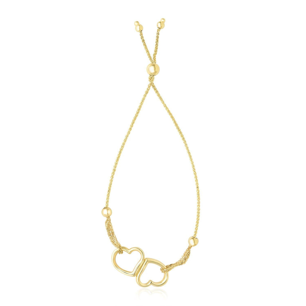 14k Yellow Gold Conjoined Open Heart Adjustable Lariat Style Bracelet