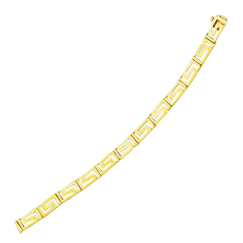 14k Yellow Gold Fancy Greek Key Motif Bracelet