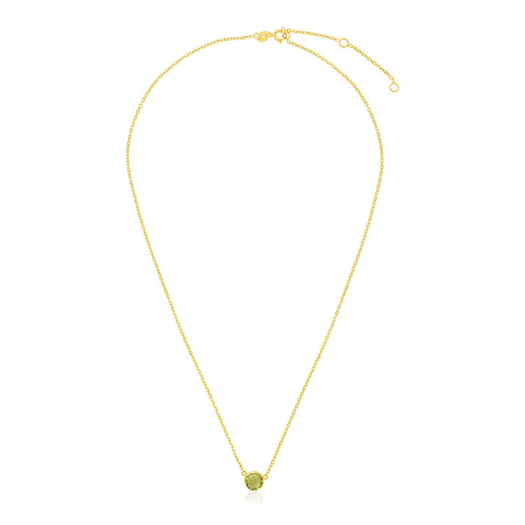 14k Yellow Gold 17 inch Necklace with Round Peridot