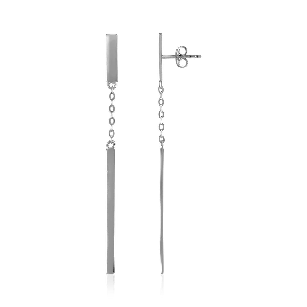 14k White Gold Polished Bar Earrings with Chain and Bar Drop