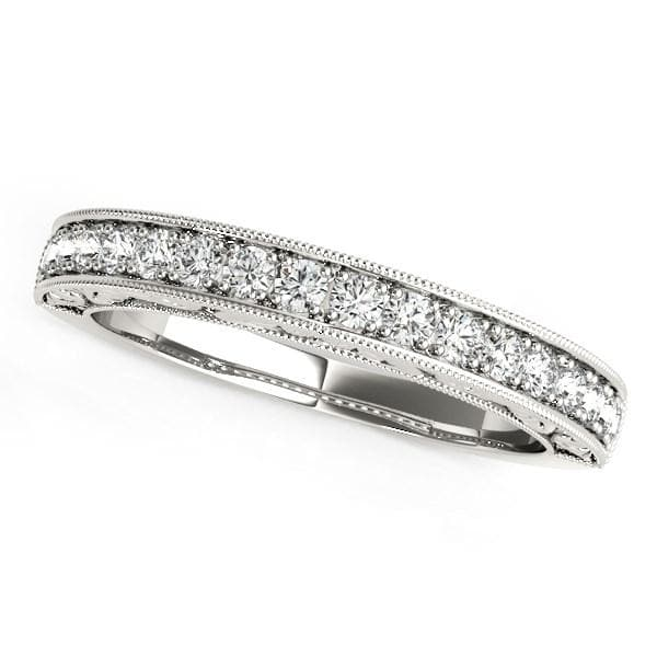 14K White Gold Antique Prong Set Diamond Wedding Ring (1/3 ct. tw.)