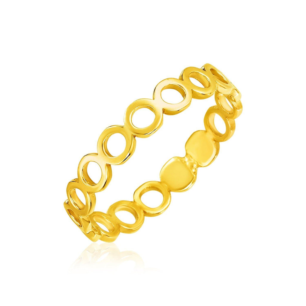 14k Yellow Gold Ring with Polished Open Circle Motifs