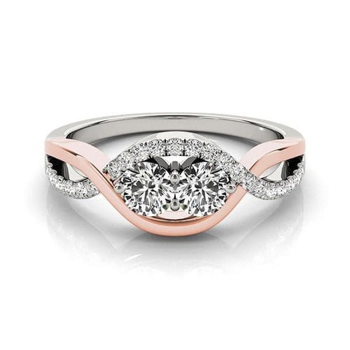 14K White And Rose Gold Infinity Style Two Stone Diamond Ring (5/8 ct. tw.)