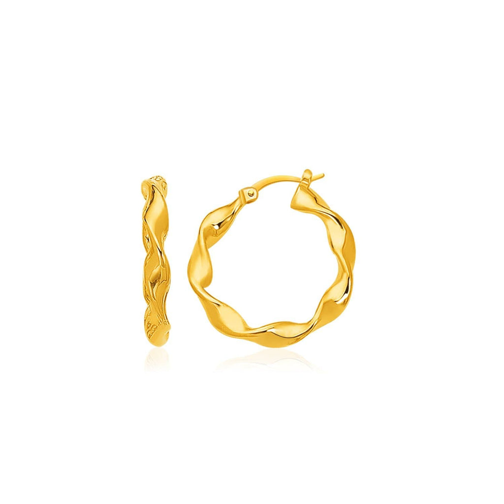 14k Gold Large Twisted Hoop Earrings