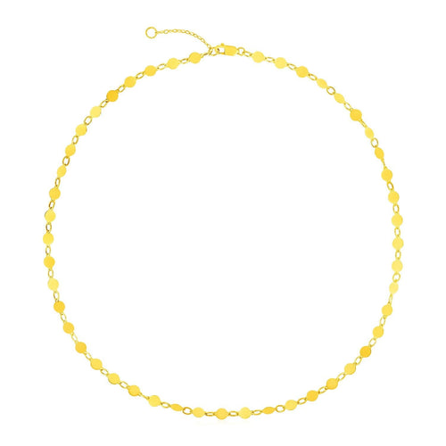 14k Yellow Gold Necklace with Polished Circles