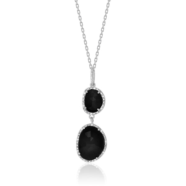 Sterling Silver Diamond Embellished Layered Onyx Pendant