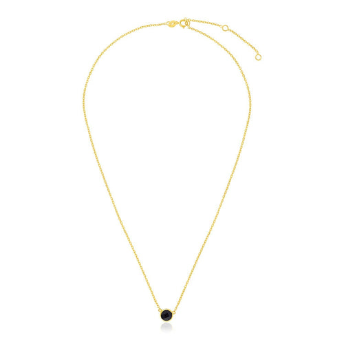 14k Yellow Gold 17 inch Necklace with Round Onyx