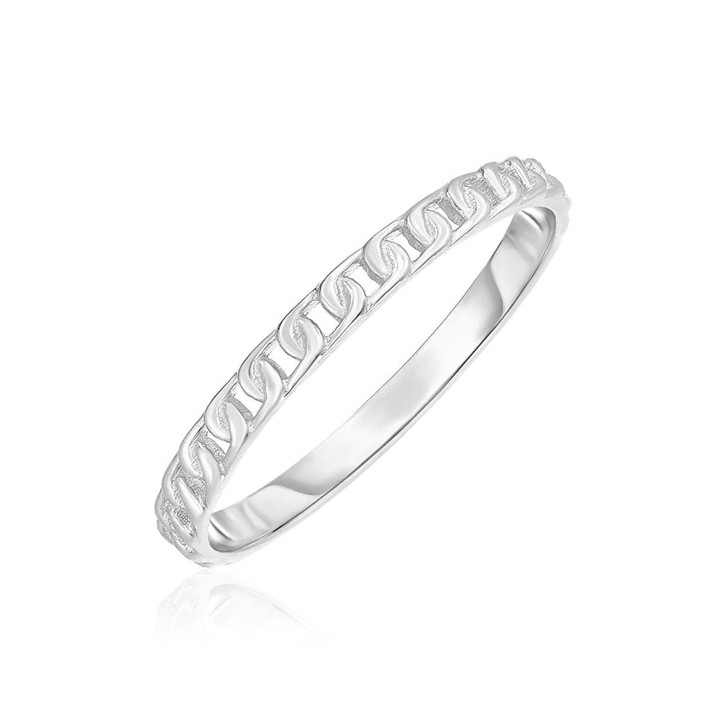 14k White Gold Ring with Bead Texture