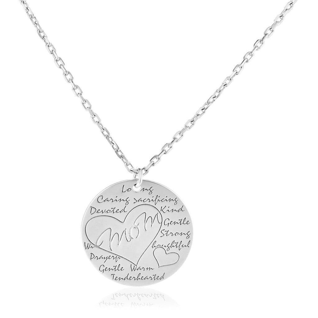 Sterling Silver 18 inch Necklace with Engraved Round Mom Pendant