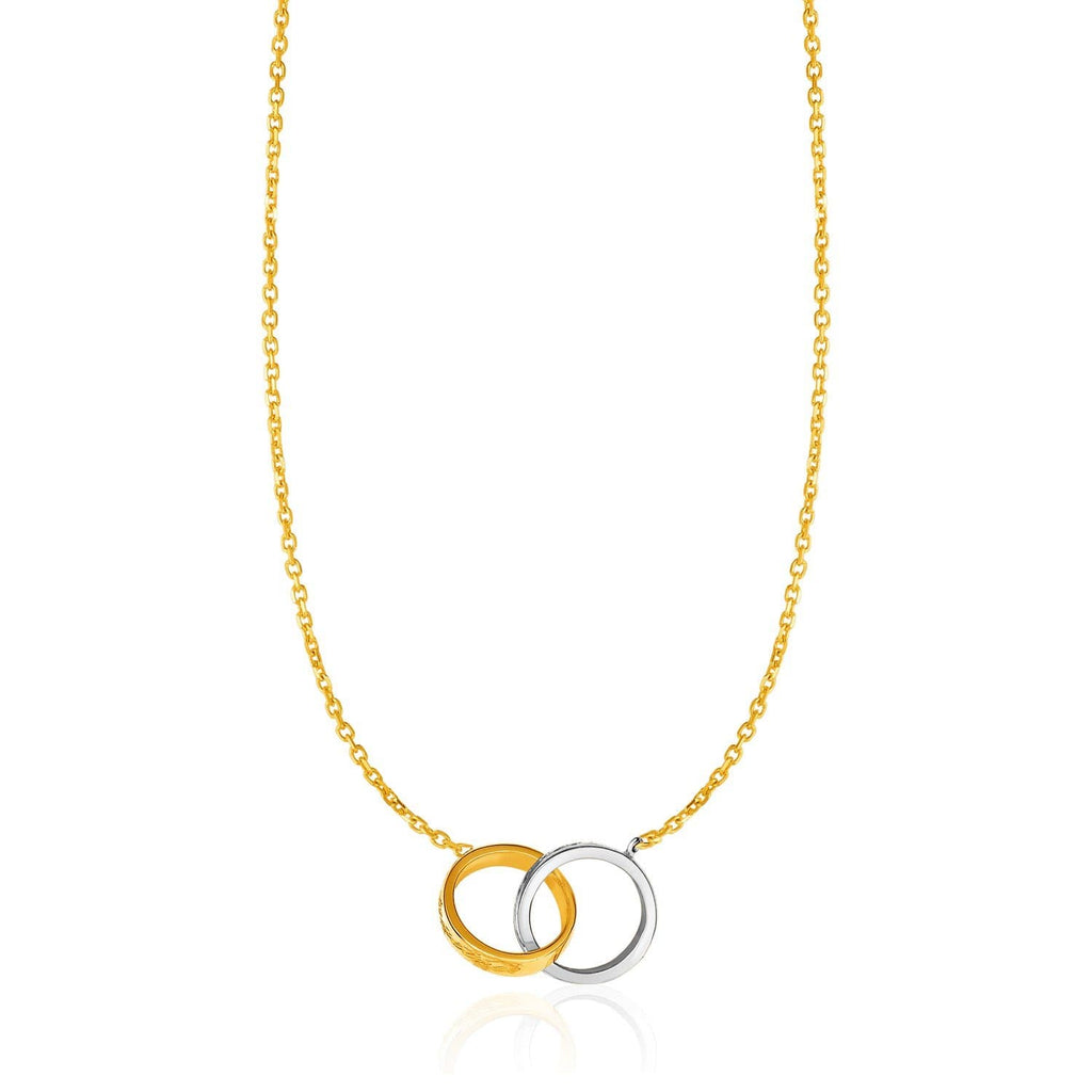 14k Two-Toned Yellow and White Gold Interlocking Rings Necklace