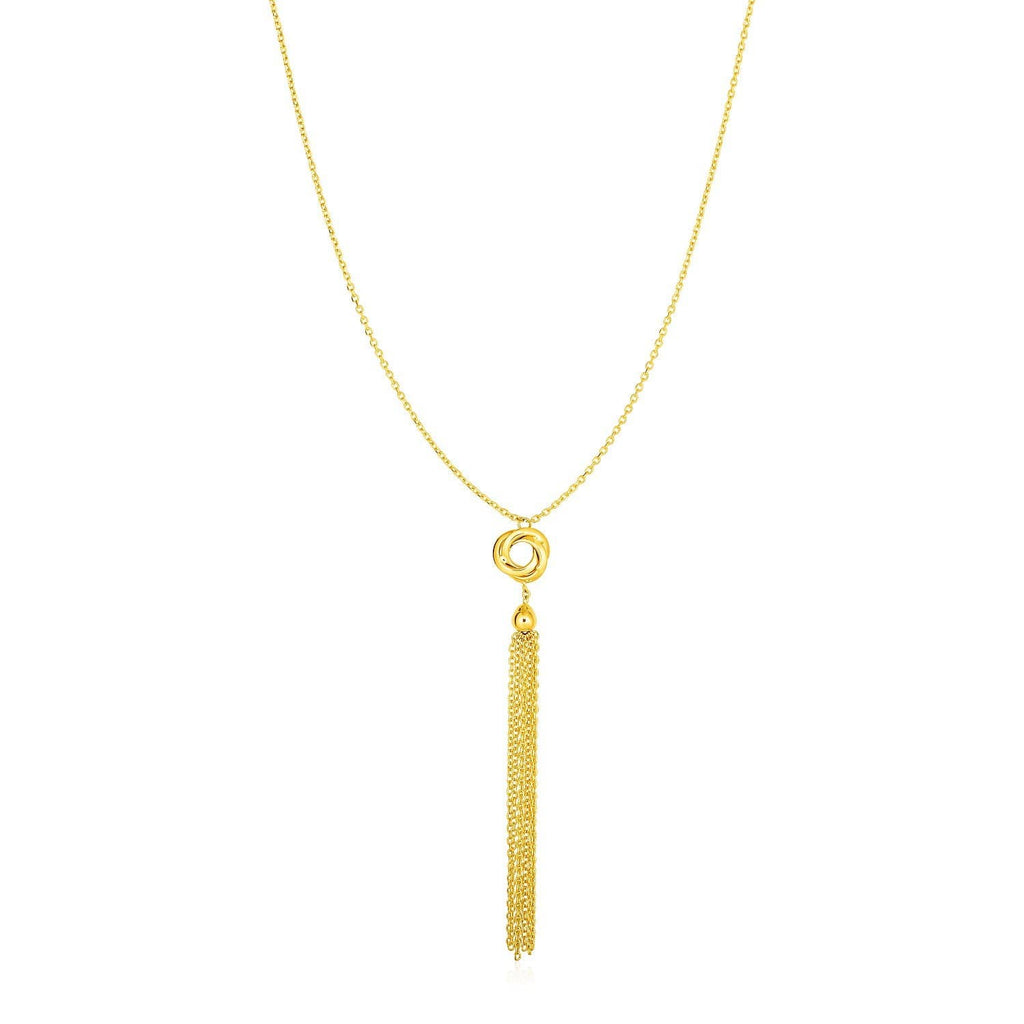 Necklace with Tassel and Love Knot Pendant in 14k Yellow Gold