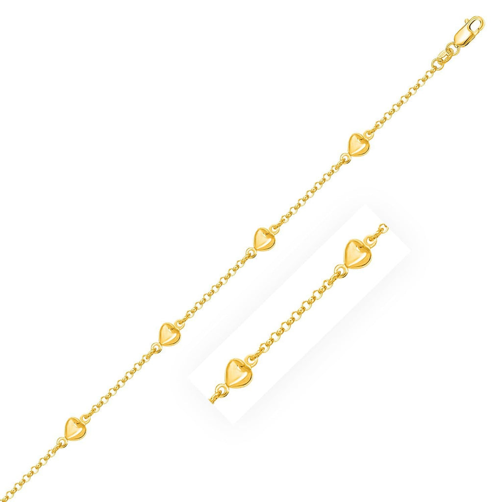 14K Yellow Gold Rolo Chain Bracelet with Puffed Heart Stations
