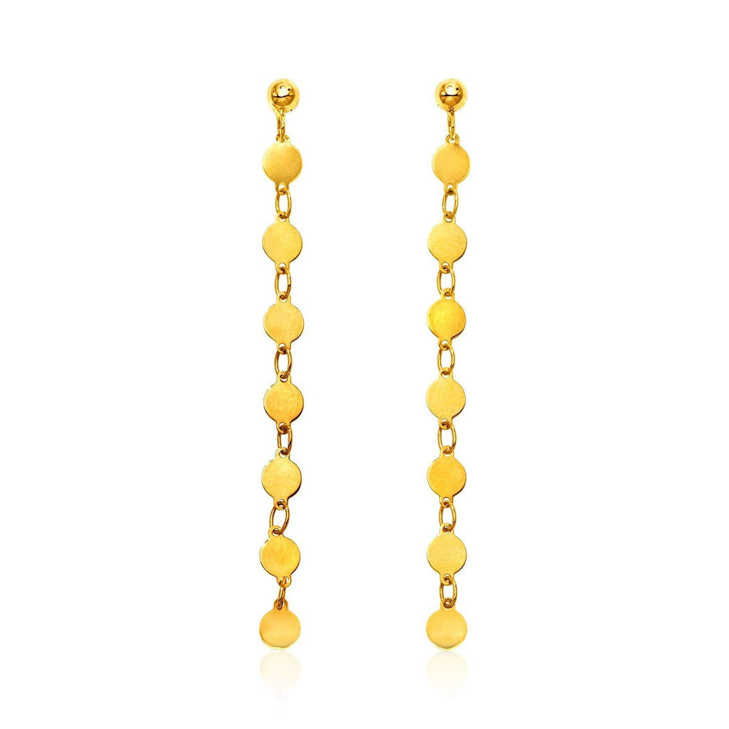 14k Yellow Gold Long Post Earrings with Polished Circles