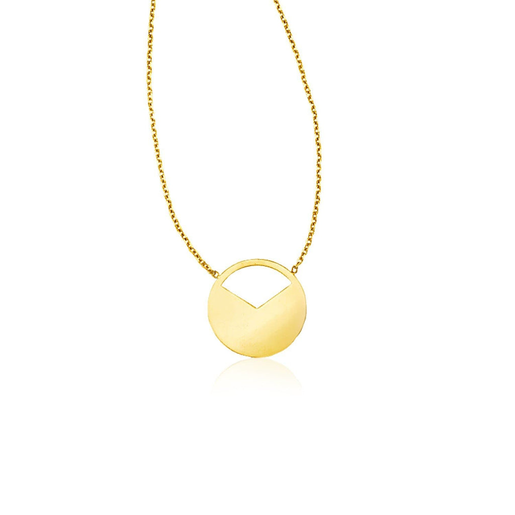 14k Yellow Gold Circle Necklace with Open Slice