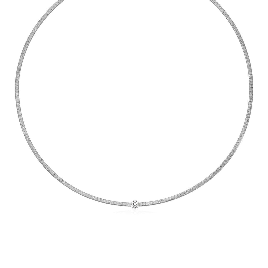 14k White Gold Necklace with Brushed Texture and Diamonds