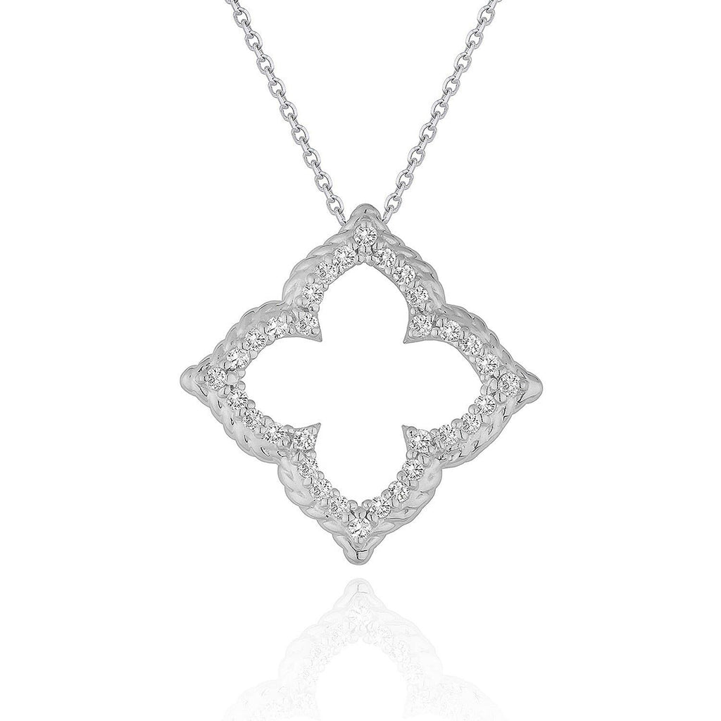 14k White Gold Diamond Cut-out Flower Pendant (1/3 cttw)