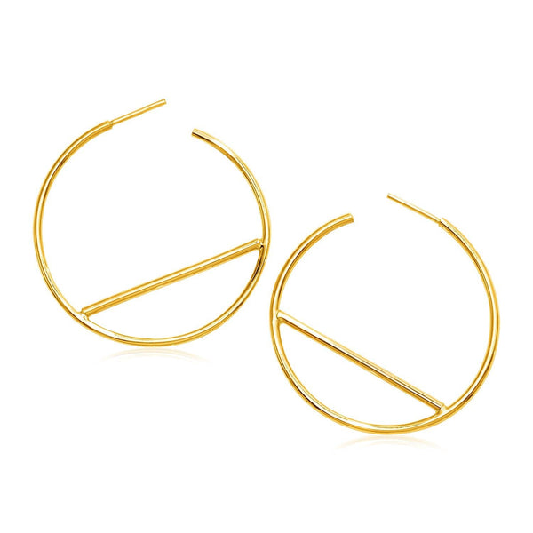 14k Yellow Gold Hoop Earrings with Bar Details