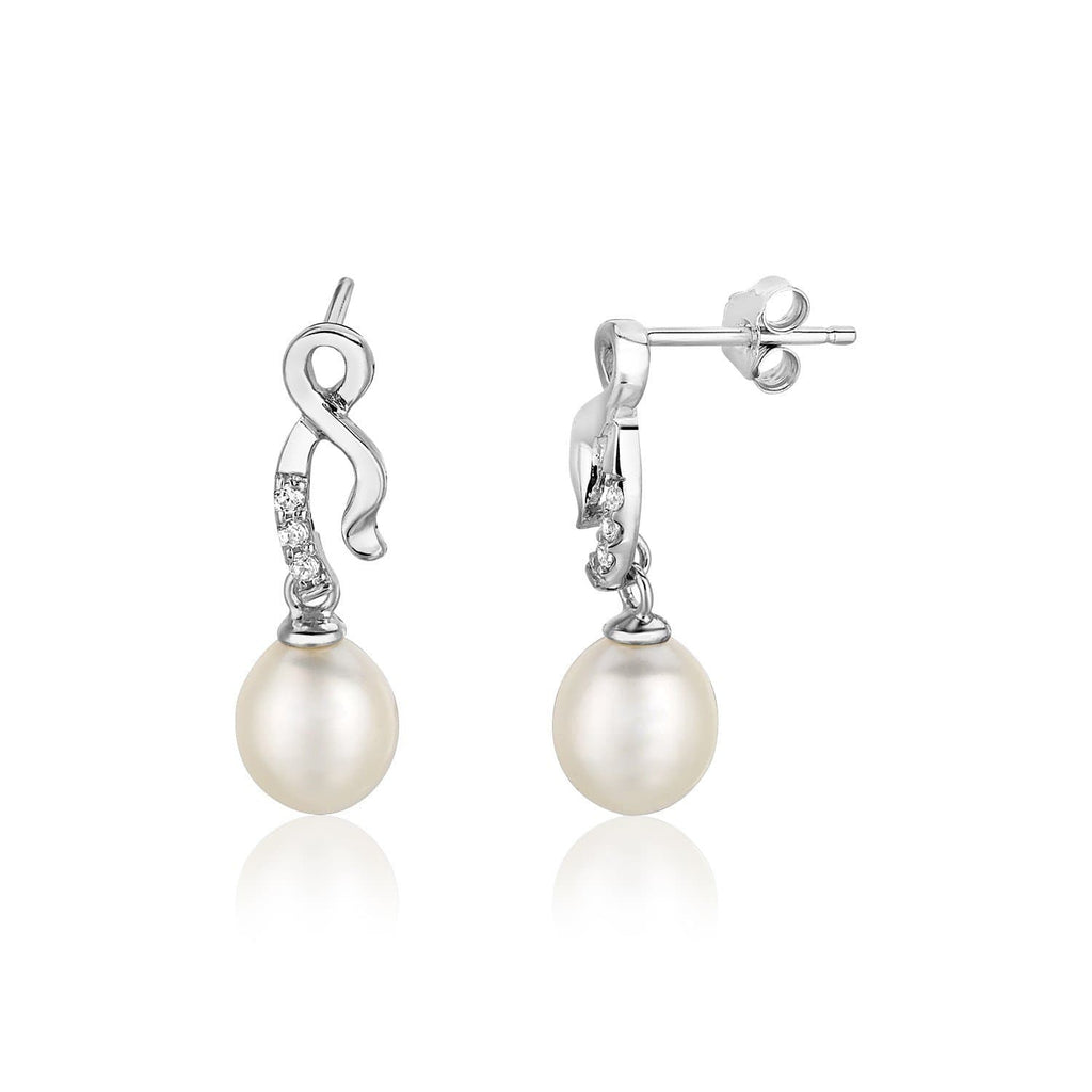 Sterling Silver Earrings with Twist Motif and Freshwater Pearls