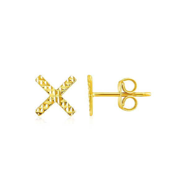 14k Yellow Gold Textured X Post Earrings