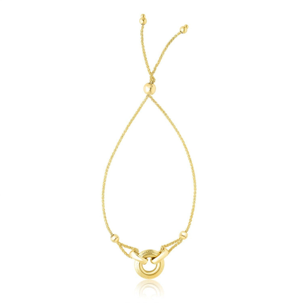 14k Yellow Gold Interlaced Ring Adjustable Design Lariat Bracelet