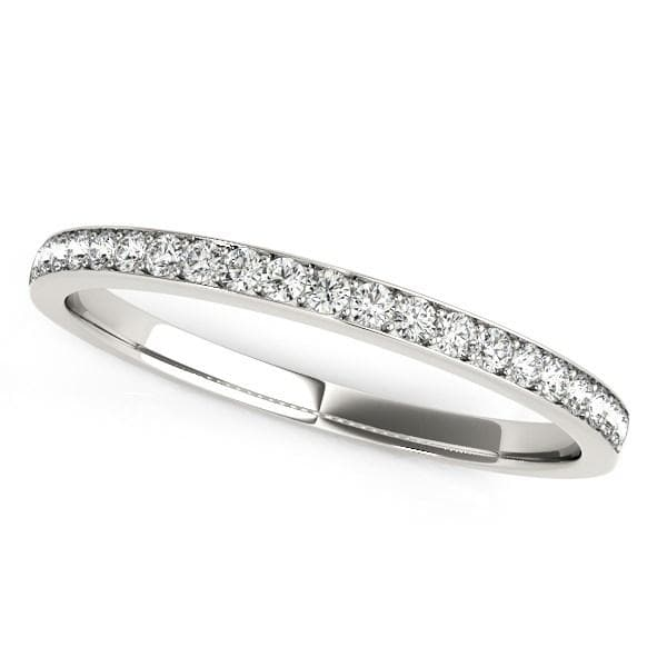 14K White Gold Prong Setting Round Diamond Wedding Band (1/5 ct. tw.)