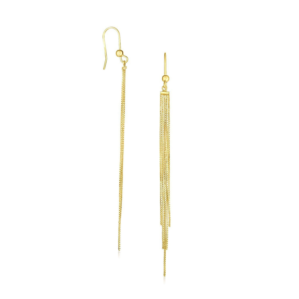 14K Yellow Gold Multiple Asymmetrical Chain Drop Earrings