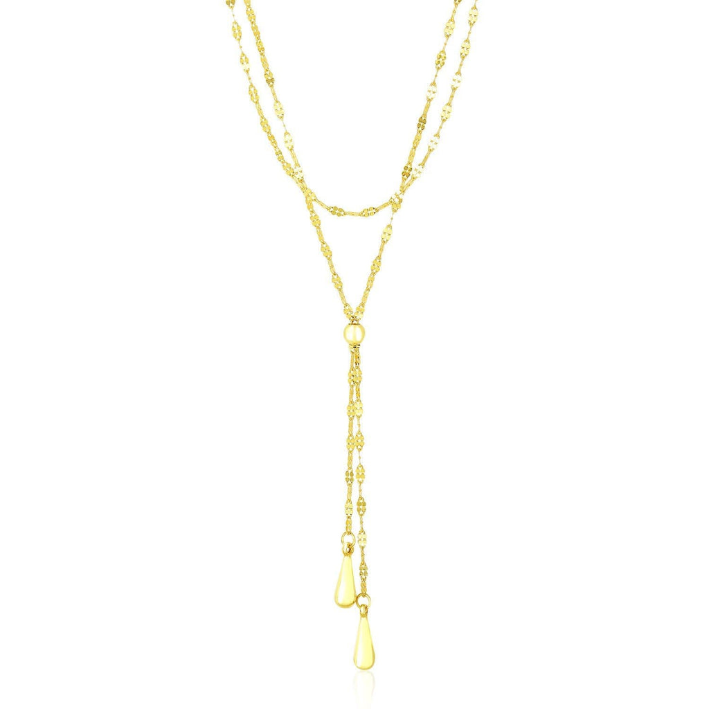 14k Yellow Gold Double Strand Chain with Puffed Heart Lariat Necklace