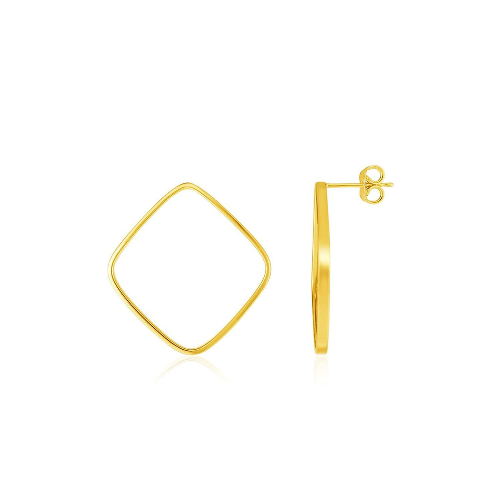 14k Yellow Gold Polished Open Square Post Earrings